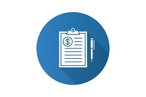Business contract flat design long shadow glyph icon