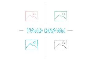 Digital image, photo hand drawn icons set