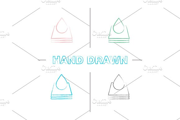 Printing Hand Drawn Icons Set