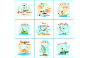 Summer Fun and Good Fun Set Vector Illustration