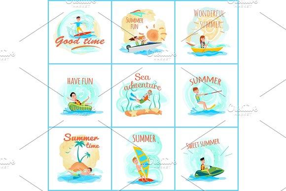 Summer Fun and Good Fun Set Vector Illustration