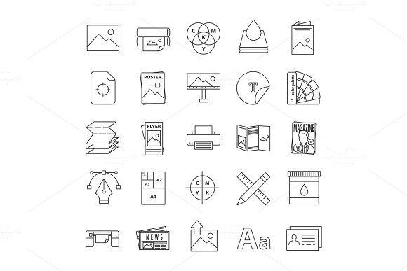 Printing Linear Icons Set