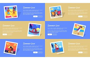 Summer Love Photos with Texts Vector Web Banner