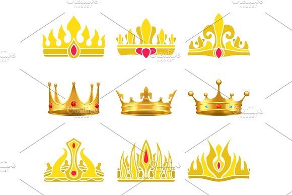 Kings And Queens Gold Crowns Inlaid With Gems
