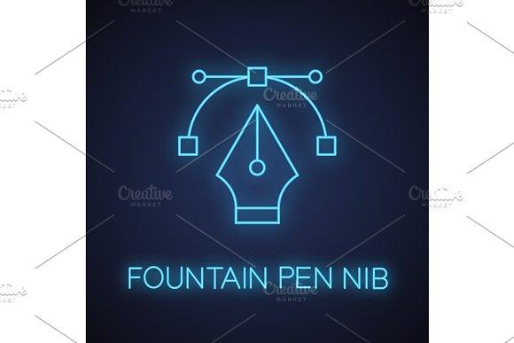 Fountain Pen Nib Neon Light Icon