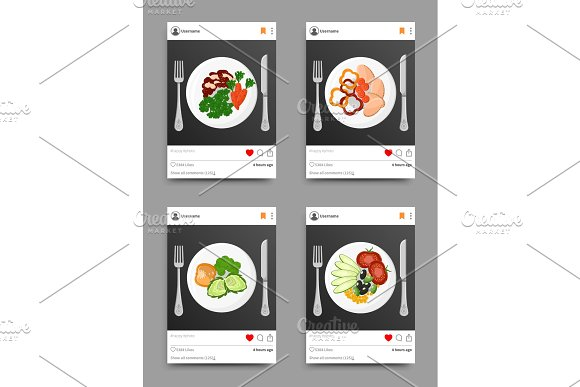 Dish Collection On Instagram Vector Illustration