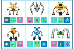 Cyborgs Collection Objects Vector Illustration