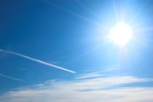 Sunny, blue sky