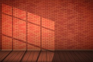 Red brick wall room