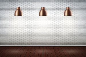 White brick wall room with vintage lamps