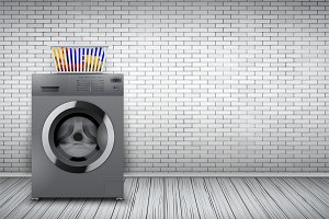 Laundry room of brick wall and washing machine