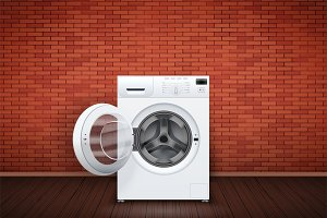 Laundry room of brick wall and washing machine