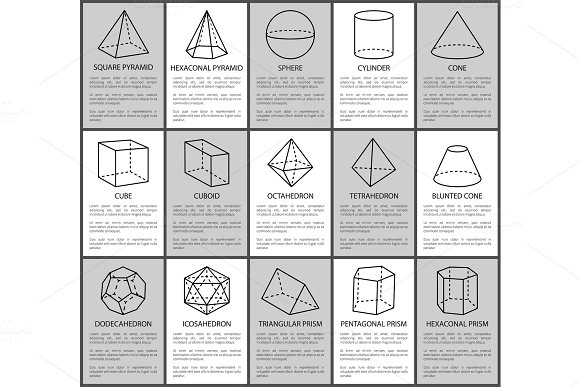 Figures Set Sphere And Cone Cube And Cuboid