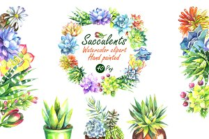 Watercolor Succulents Clip Art Set