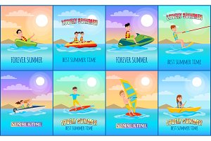 Forever Summer Collection Vector Illustration