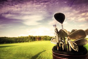 Professional golf gear at sunset
