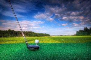 Playing golf - preparing to shot