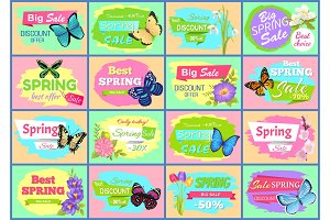 Spring Big Sale Posters Set Vector Illustration