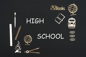 School supplies placed on black background with text high school