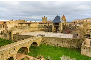 Entrance to the Cite de Carcassonne, a medieval citadel in Franc
