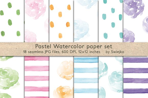Pastel Watercolor Patterns Seamless