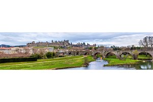Carcassonne fortress and Pont Vieux - France, Languedoc-Roussill