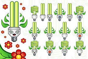 Eco Light Bulb Vector Set