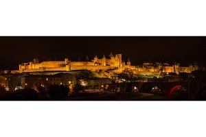 Night panorama of Carcassonne fortress - France, Languedoc-Rouss
