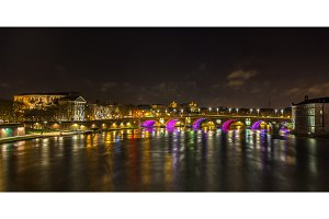 Night view of Garonne river in Toulouse - France