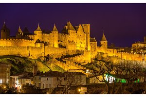 Night view of Carcassonne fortress - France, Languedoc-Roussillo