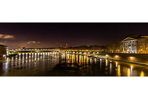 Night view of the Garonne river in Toulouse - France