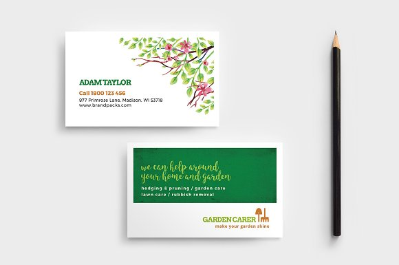 gardener business card template business cards - Lawn Service Business Cards