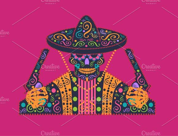 Mexican Skull Icon With Sombrero