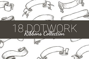 Vintage dotwork ribbons collection