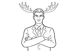 Husband businessman and deer horns coloring vector