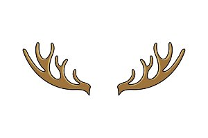 Deer horns cartoon color vector illustration