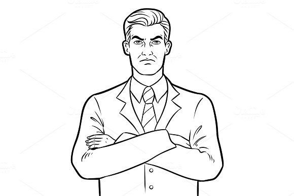 Angry Serious Boss Businessman Coloring Vector