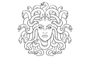Medusa greek myth creature coloring vector