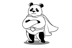 Panda superhero coloring vector illustration
