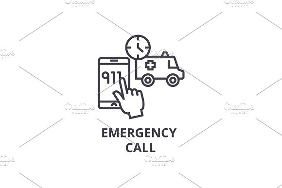 Emergency Call Thin Line Icon Sign Symbol Illustation Linear Concept Vector
