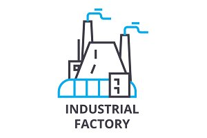 industrial factory thin line icon, sign, symbol, illustation, linear concept, vector