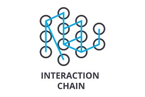 interaction chain thin line icon, sign, symbol, illustation, linear concept, vector