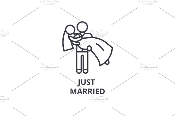 Just Married Thin Line Icon Sign Symbol Illustation Linear Concept Vector