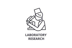 laboratory research thin line icon, sign, symbol, illustation, linear concept, vector