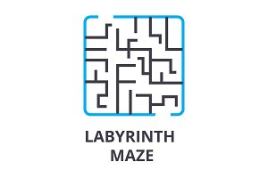 labyrinth maze thin line icon, sign, symbol, illustation, linear concept, vector