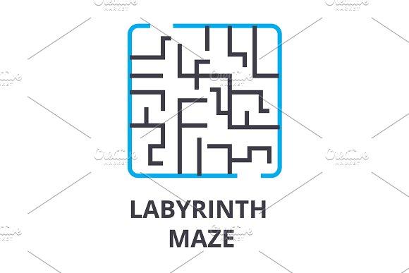 Labyrinth Maze Thin Line Icon Sign Symbol Illustation Linear Concept Vector