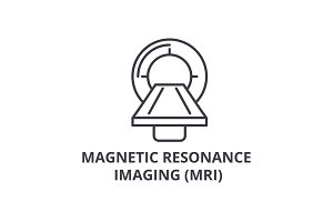 magnetic resonance imaging (mri) thin line icon, sign, symbol, illustation, linear concept, vector