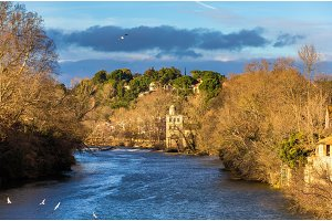 View from Beziers to the river Orb - France