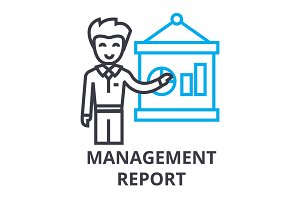 management report thin line icon, sign, symbol, illustation, linear concept, vector