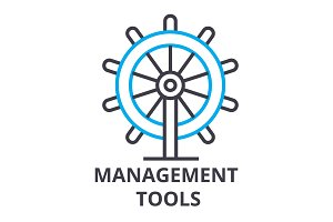 management tools thin line icon, sign, symbol, illustation, linear concept, vector